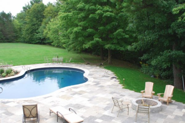 Flagstone Pool Patio with Fire Pit